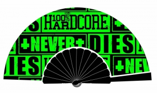 Vějíř 100% HARDCORE FAN NEVER DIES BLACK / GREEN