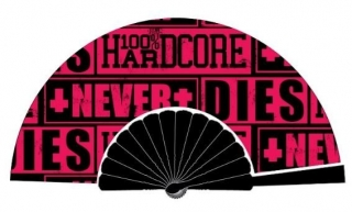 Vějíř 100% HARDCORE FAN NEVER DIES BLACK / PINK