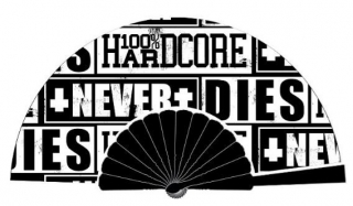 Vějíř 100% HARDCORE FAN NEVER DIES BLACK